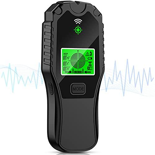 Leitungssucher Ortungsgerät Wand Detektor Werkzeug - 6 in 1 Outdoor Messgerät Kabelfinder 80mm Stud Finder mit LCD & Tonwarnung für Magnetisch Nicht Metall Stromleitung Kabel Holzbalken Holz