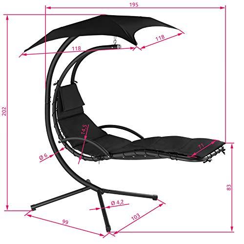 TecTake 800699 Hängeliege mit Gestell und Sonnendach mit UV Schutz, 195 x 118 x 202 cm, ergonomisch geformte Liegefläche, inkl. Sitz- und Kopfpolster - Diverse Farben – (Schwarz | Nr. 403074) - 8
