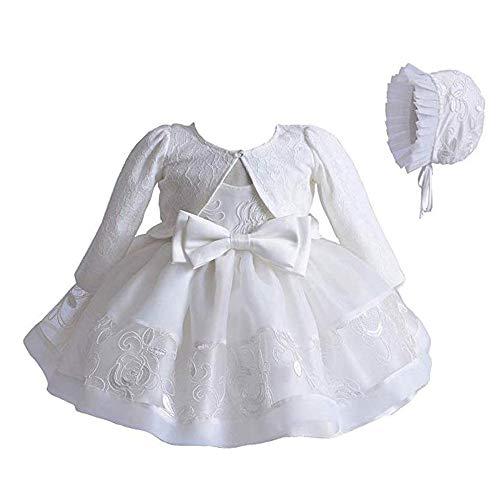 Greetuny - Vestido de bautizo para niñas, vestido de princesa de encaje, tul bordado + cárdigan de manga larga + gorro de bautizo, 3 unidades blanco 0-3 meses