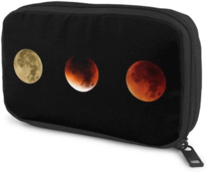 Electronics Accessories Organizer Bag Course Supermoon Lunar Eclipse Collage Three Electronics Organizer Travel Organizer Cable Bag Storage Bag of Cases for Cable, Charger, Phone, USB, Sd Card