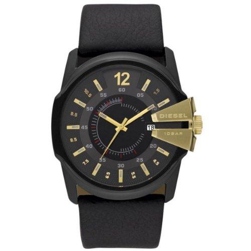Diesel Men's Master Chief Stainless Steel Quartz Watch with Leather Strap, Black, 30 (Model: DZ1475)