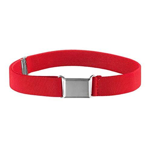 JieGorge - Cinturón elástico ajustable para niños, unisex, hebilla cuadrada plateada, cinturón, zapatos de ropa y accesorios (K)