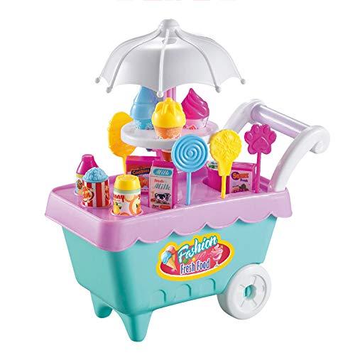 Fellibay Carro de helado para niños Carro de helado Juguetes educativos Niños Juguetes de alimentos para niños (carro de hielo Ceam)