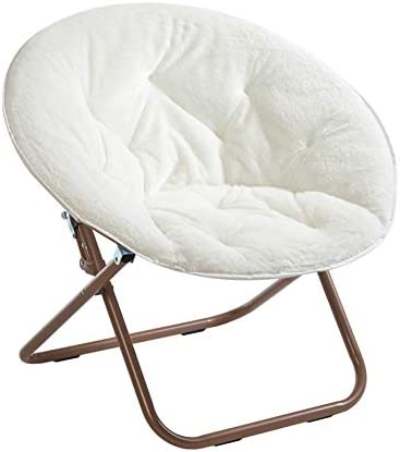 Best Urban Shop Faux Fur Saucer Chair with Metal Frame, One Size, White