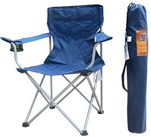 Mopoq Tragbare Klappstuhl mit Armlehne Becherhalter, Faltbarer Camping-Stuhl, Outdoor-Sessel mit Highback Tragetasche, for Reisen Picknick am Strand Schwarz 54x44x92cm (21x17x36inch) (Color : Navy)