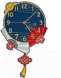 JLFFYJ Wandklok Chinese opvouwbare Ventilator decoratie Grote lettertypen gemakkelijk te lezen Wandklokken Van de kamer