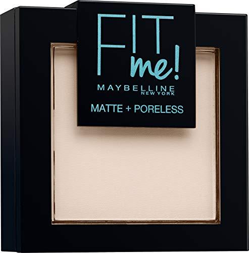Maybelline New York Fit Me Matte&Poreless Cipria Opacizzante e Fissante, Pennello e Specchietto Inclusi, 100 Warm Ivory