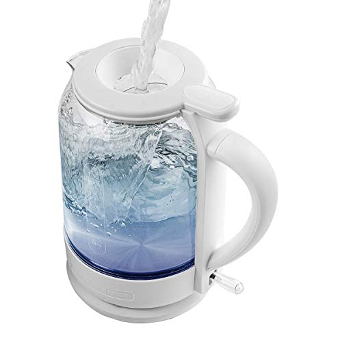 Ovente Electric Hot Water Glass Kettle 1.5 Liter Borosilicate Glass with ProntoFill Technology Easy Fill Solution, Portable 1500 Watt Tea Maker Auto Shut-Off Fast Heating for Beverage, White KG516W