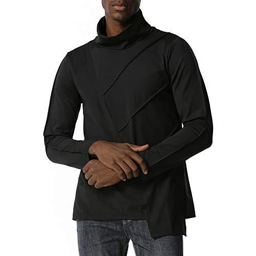 HOSD Camiseta de manga larga para hombre con ajuste entallado irregular.