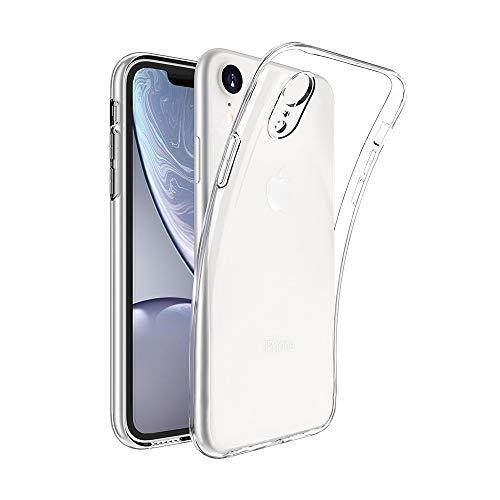 Captor Cover Trasparente per iPhone XR, Custodia TPU in Silicone Flessibile Morbida e Sottile, Protezione Full Body con Bordo Rialzato per Schermo e Fotocamera