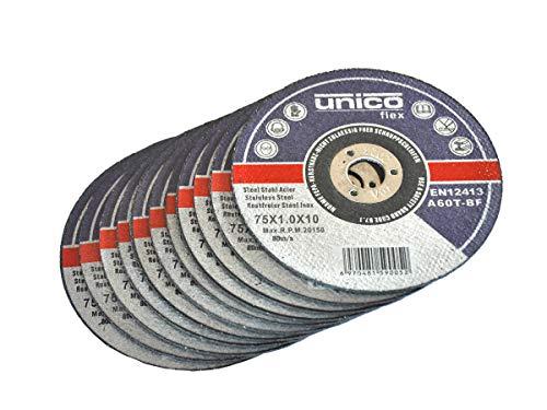 10 Stück Trennscheibe Ø 75mm, 10mm Aufnahme. Geeignet für Stahl Edelstahl Inox Metall etc.