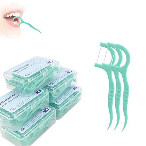 300 Stk Zahnseide, KWOKWEI Zahnseide Sticks mit kunststoff Griff, Dental Floss/Zahnpflege Interdental Flosser mit Zahnseidenhalter, Zahn Draht/Zahnreiniger Sticks mit Zahnstocher (5x 60 Stück)