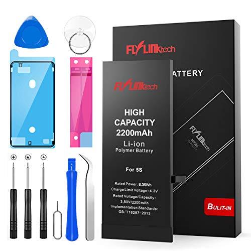 Batería para iPhone 5S 2200mAH con 41% más de Capacidad Que la batería Origina, FLYLINKTECH Reemplazo de Alta Capacidad Batería para iPhone 5S con Kits de Herramientas de reparación, Cinta Adhesiva