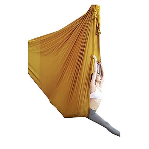 Hamaca de Yoga de 4 m de Largo de 2,8 m de Ancho Tela de Seda de la Hamaca de Swing con la Cadena de Margarita de Carabiner para el Yoga Pilates Anti-Gravity (Color : Yellow)