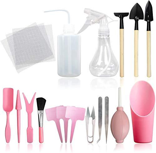 Hanwu 16Pcs Sukkulente Werkzeuge, Minipflanzen/Topfen Gartenarbeit-Werkzeug-Set für Indoor Miniatur-Garten Pflanzenpflege,Rosa