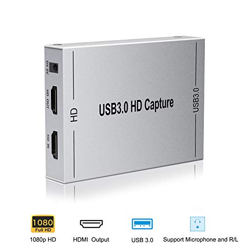 HDMI Capture Card, Ansten USB3.0 Game Video Converter with HDMI Loop-out Support Full HD 1080P 60HZ Mic In and Audio Out, Compatible Windows Linux Youtube OBS OS X Twitch for PS3 PS4 Xbox One Xbox 360
