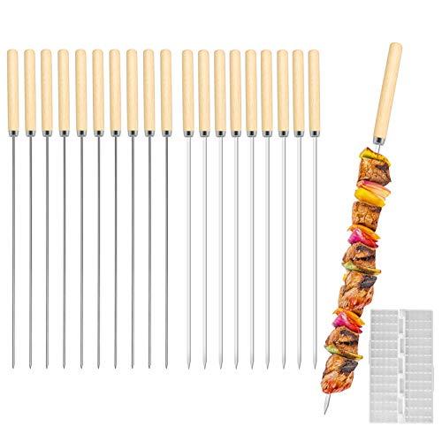 E-More Brochetas de Barbacoa, 20 Piezas Brochetas Acero Inoxidable Kebab de Pinchos Asar Barbacoa Stick Pinchos con Mango de Madera, 33CM, con Dispositivo Quick Meat String