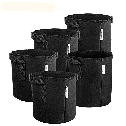 MELONFARM 5-Pack 1 Gallon Grow Bags Heavy Duty Thickened Non-Woven Plant Fabric Pots with Handles