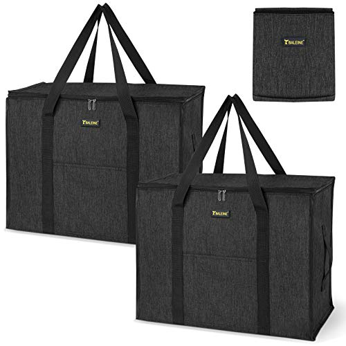 BALEINE 2 Pack Storage Tote with Zippers & Carrying Handles, Heavy-Duty Oxford Fabric Moving Bags for Space Saving Moving Storage, Charcoal Black