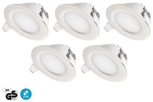 Ultra Flach LED Einbaustrahler IP44 für den Wohnbereich | auch für das Bad geeignet | Warmweiss Kaltweiss | 4W 230V Einbauspots Badleuchten, 5 Stück Einbauleuchten (Warmweiss)