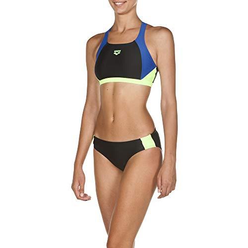 ARENA Bikini Deportivo para Mujer REN, Mujer, Set de Bikini, 000990, Negro y Verde Brillante, 38