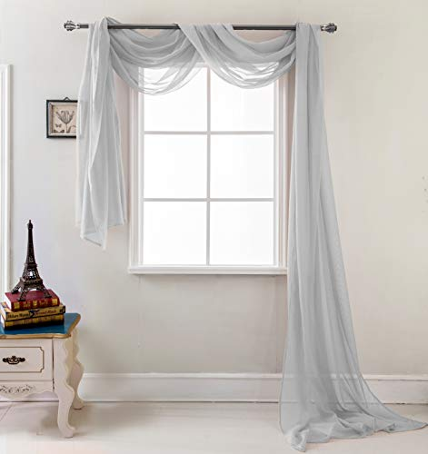 RT Designers Collection Celine Sheer 55 x 216 in. Sheer Curtain Scarf, Silver