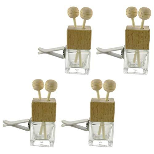 NICEXMAS - 4 ambientadores de coche recargables, para aromaterapia, aceites esenciales, difusor de 8 ml