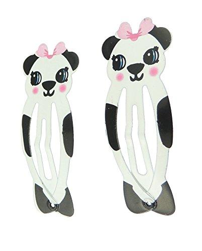 Paar 2 Mädchen Tier Schablone 5,5 cm Haar Sleepies Snap Bendies (Panda)