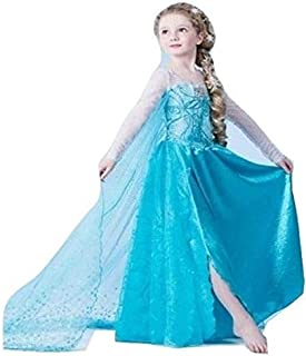 Frozen Essar Princess long dress child girls long sleeve mesh dress-Blue color