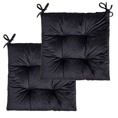 yunyu Indoor Chair Cushion With Straps,Thickened Chair Cushion Seat Pads,Wicker Seat Cushion,Dining Chair Terrace Mat,Solid Color Velvet Outdoor Seat Cushion With Tie,16X16In- set of 2-Black