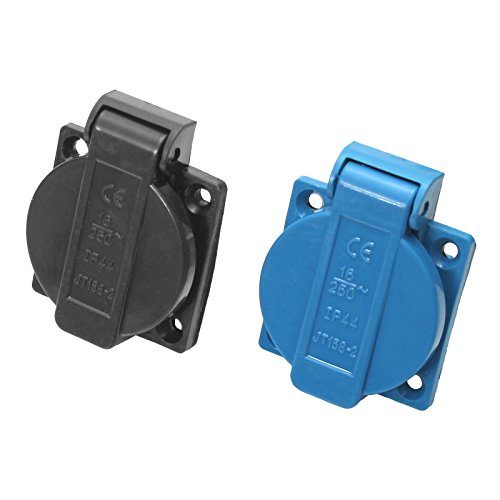 Einbausteckdose Schuko 230/250V/16A IP44 in 2 Farben auswählbar Blau & Schwarz (Schwarz)