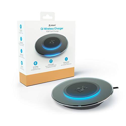 Atomi Almohadilla de Carga inalámbrica de 10 W Qi tecnología inalámbrica Compatible con Apple iPhone X/iPhone 8/8 Plus, Samsung Galaxy Note 8/S8/S8+ y Todos los Dispositivos con Qi