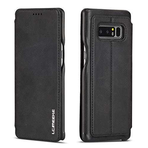QLTYPRI Hülle für Samsung Galaxy Note 8, Premium PU Leder Handyhülle Ultra Dünne Ledertasche Magnetverschluss Standfunktion und Kartenfach Flip Schutzhülle für Samsung Galaxy Note 8 - Schwarz