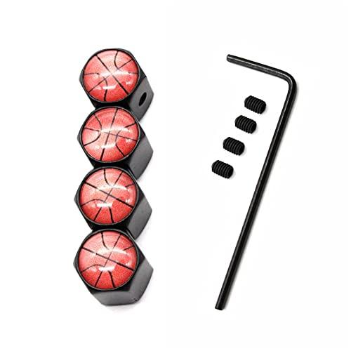 4 UNIDS / SET STYLING DE COCHE A ALLEZA DE ZINC ALOYO ANTRIBUJO Estilo de baloncesto Coche Tapa de la válvula de la válvula de los neumáticos de las ruedas Neumático Tallo Tapa de aire Cubiertas hermé