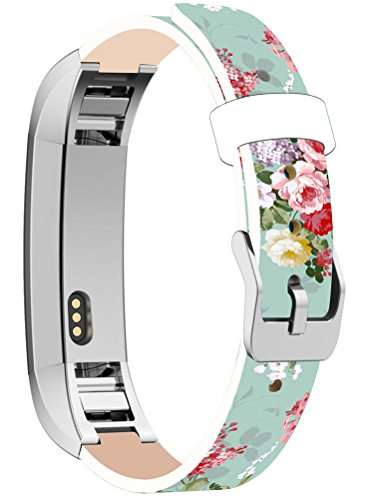 Bands for Alta HR, Cisland Straps Replacement Compatible with Fitbit Alta (HR) Silver Connectors + Colorful Freshing Floral Flower Art