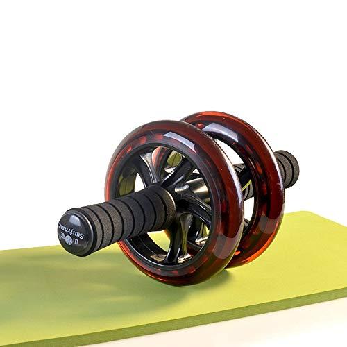JUNPE Bauchtrainer Rolle PU Abdomen Rädchen Transparent Rot Doppel-Rad Bauchmuskeln Rad Mute Abdomen Rad Sports Fitness Roller Tragen Von Bis Zu 500 Kg (Color : Red, Size : Klein)