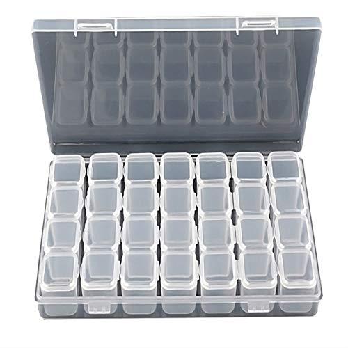 QWEQWE Caja de almacenamiento de plástico con 28 rejillas para pintura de diamantes, caja de almacenamiento ajustable, 2 unidades,...
