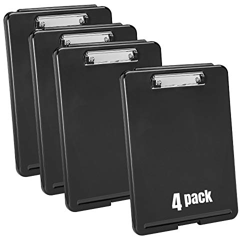 1InTheOffice Plastic Storage Clipboard, Black,Letter Size,(4 Pack)