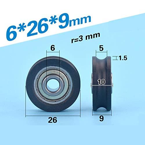 Without brand KF-Wheels U Groove NONSTANDARD Kugellager nylonumantelten Fenster Tür Roller Rad U0629 6 * 29 * 9 U Typ Rad