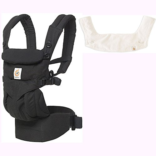 Ergo Baby Omni 360 All-in-One Ergonomic Baby Carrier with Teething Pad and Bib - Pure Black/Natural