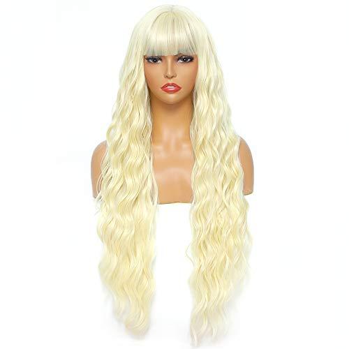 Sylhair Perücken 75 cm Blonde Perücke mit Pony Super Lange Wasserwelle Kunsthaar Wigs with Fringes Wavy long Wigs with Bangs Perücken für Damen kunstfaser synthetische Faser Wigs for Women