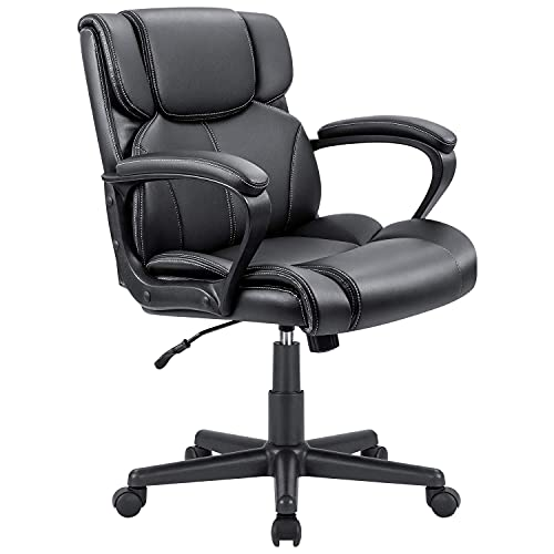 Furmax Mid Back Executive Office Swivel Computer Task Armrests Ergonomic Leather-Padded Desk Chair...