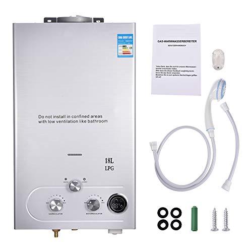 Calentador de agua de gas propano LPG sin tanque de agua caliente montado en la pared, pantalla LCD de temperatura con cabezal de ducha para camping, RV, caravana (6/8/10/12/16/18L) (18L)