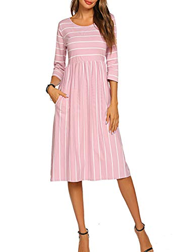 Halife Women's 3 4 Sleeve Stripe Elastic Waist Casual Dress with Pocket (M, Light Pink)