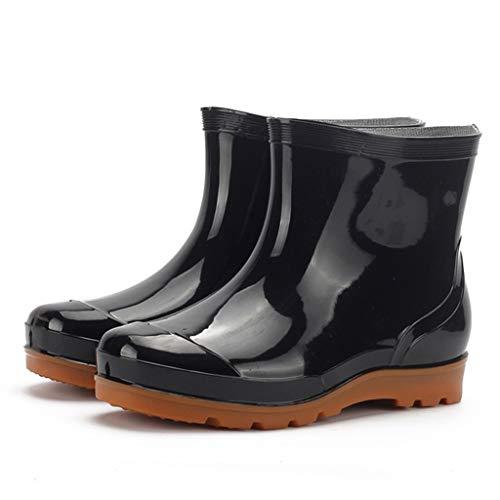 Huhu833 Damen Gummistiefel Schwarz Regenstiefel Kurze Stiefel Regenstiefel rutschfeste Schuhe Wasserschuhe Rain Boot Stiefeletten Outdoor Boots Gartenschuhe Gummistiefeletten (Schwarz, 42 EU)