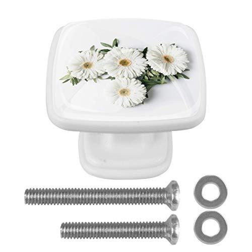 Paquete de 4 pomos cuadrados para armario de cocina, diseño de margaritas blancas
