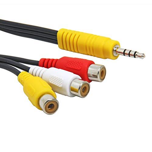 Adaptateur Câble Audio vidéo 3,5 mm mâle vers 3 RCA femelle 1-Pack