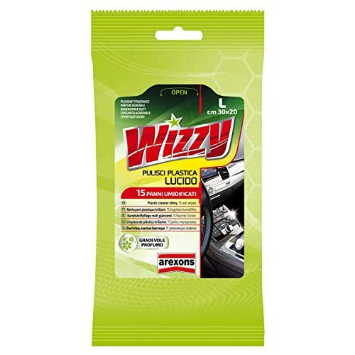 AREXONS WIZZY PULISCI PLASTICA LUCIDO, 15 Salviettine umidificate per superfici interne in plastica auto, usa e getta, panni imbibiti rimuovi sporco, salviettine profumate, rinnova e lucida