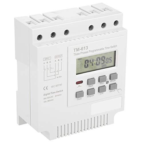 Qioniky Relé de Tiempo programable, relé de Tiempo, Interruptor de Temporizador de Potencia de Control Digital Inteligente programable semanalmente para Motor trifásico de Bomba de Agua