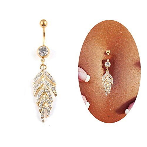 AnazoZ Piercing Nombril Acier Chirurgical Médical Anti-Allergies Bijou Piercing Nombril Pendant Plume AAA Zirconium Joli Fantaisie Femme 1.6x7.2cm-Or